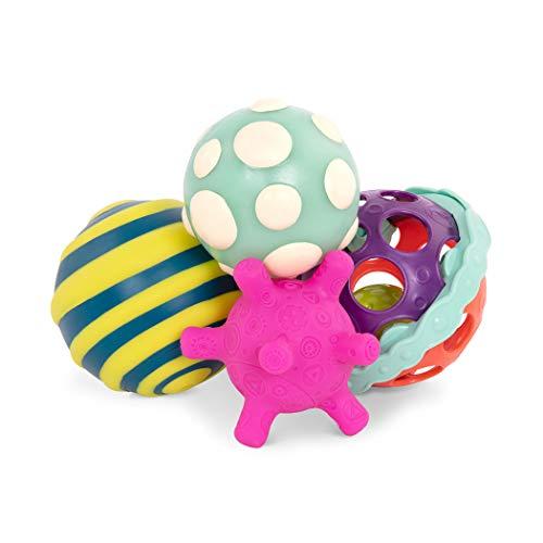 B. toys by Battat – Ball-a-balloos – Set de Pelotas texturizadas – Set de 4 Pelotas para pequeños de 6+ Meses, Multicolor, 22,86 x 15,24 cm