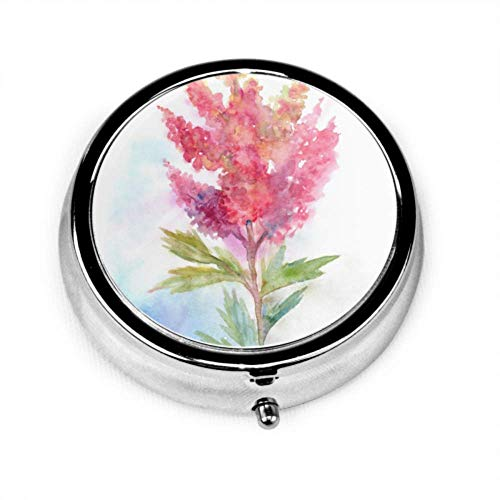 Pille Organizer Fall, rosa Astilbe Blumen Handmalerei tragbare Pille Box kleiner Pillenbehälter für Geldbörse oder Tasche, runde Pille Box
