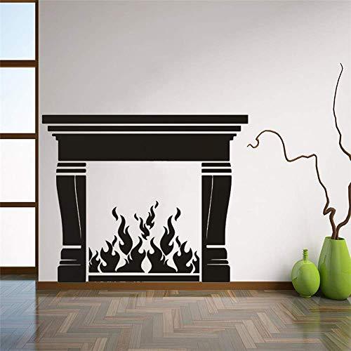 JXAA Kamin Vinyl Wandaufkleber Home Wohnzimmer Dekoration Feuer Wandtattoo Kamin Design PVC Wallpaper Vinyl Home Art 50.4x40.8cm