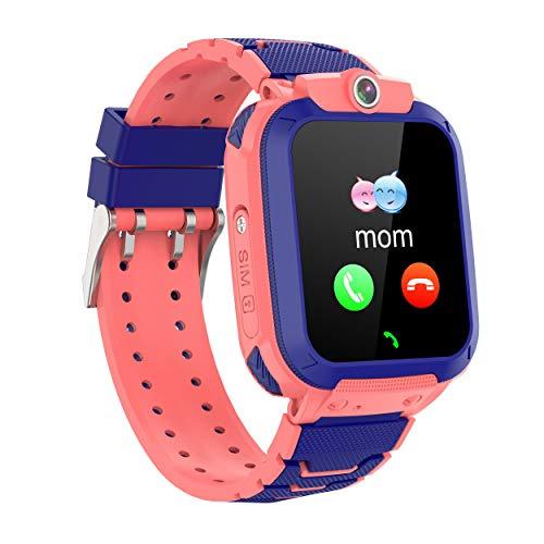 GPS Niños Impermeable Smartwatch, Reloj Inteligente Smart Watch Telefono con GPS Rastreador Conversación Bidireccional Llamada por Voz Chat SOS Cámara Despertador Juego para Niños Niña 3-12 Años,Rosa