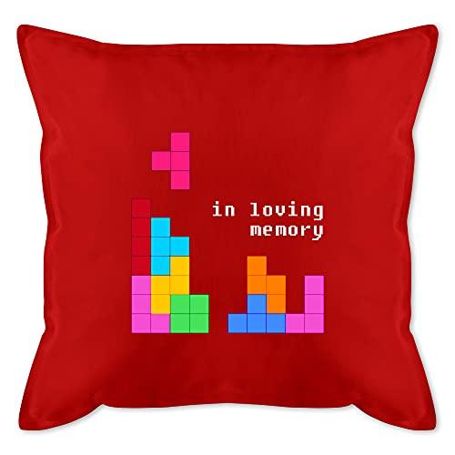Shirtracer Kissen Hobby - Tetris in Loving Memory - Unisize - Rot - Geschenk - GURLI Kissen mit Füllung - Kissen 50x50 cm und Dekokissen mit Füllung