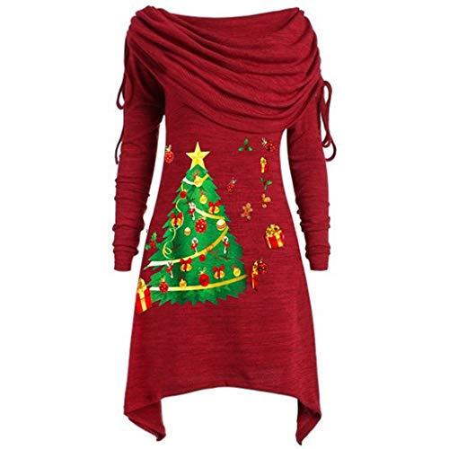Auifor Plus Size Womens Fashion Solid Geraffte lange Foldover kraag tuniek top blouse tops