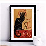 Imprimir en Lienzo Chat Noir Cat Vintage Art Print Poster Imagen de Pared para Sala de Estar Decorac...