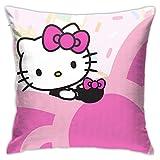 Hello Kitty con taza decorativa para el hogar funda de almohada cuadrada fundas de cojines fundas de almohada para sofá dormitorio coche 45x45 cm