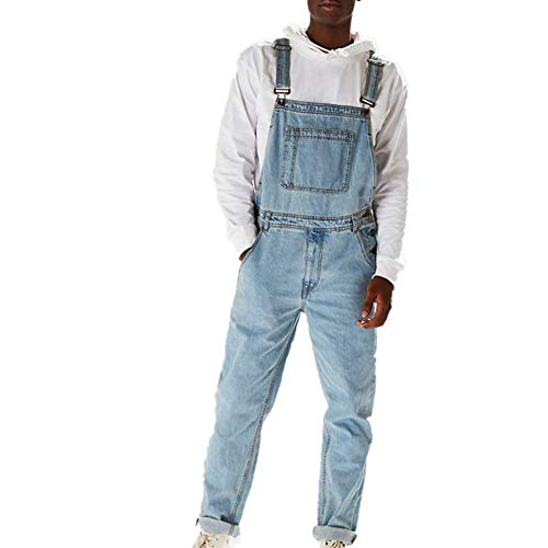 Fansu Herren Jeans Latzhose Overall, Arbeitshosen Lange Jeanshose Retro Denim Arbeitslatzhose Jumpsuit Destroyed Ripped Multifunktion Hose Arbeitskleidung (XL,Hellblau)