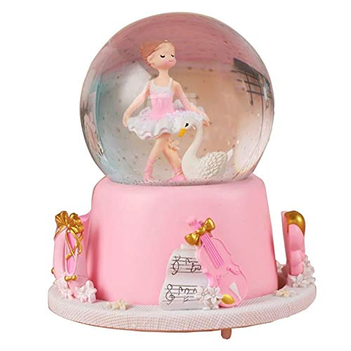 CNZXCO Caja de música Bailando Ballet Chica Exterior rotación de Voz Control Crystal Ball Box Caja Princesa niños cumpleaños Regalo niña (Color : Girl Looking Down, Size : 14 * 17cm)