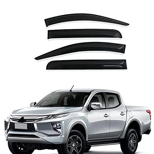 4PCS Auto Seitenfenster Windabweiser für Mitsubishi Triton MQ MR L200 2015-2021, Vorne Hinten Regenabweiser/Regenschutz/Windschutz/Sonnenblende, dunkel