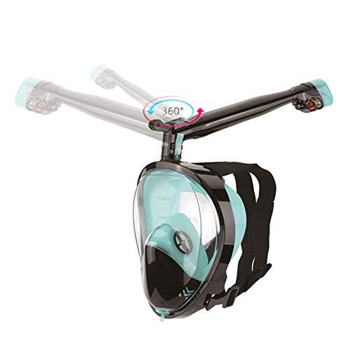 Máscara De Buceo, 360 °Girar Tubo De Respiración Máscara De Esnórquel Seaview 180 ° Máscara De Buceo Compatible Silicona Impermeable Anti-Fuga para Adultos,C,S/M