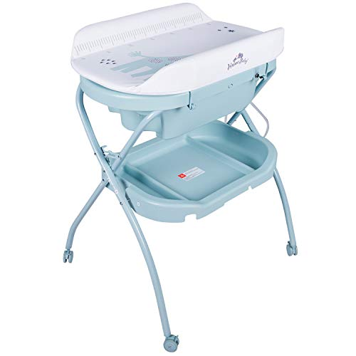 Kinbor Baby Bathinette Folding Changing Table Baby Diaper Station with Bath Tub Unit