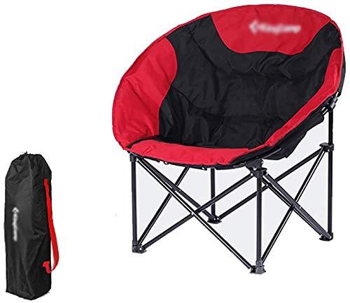 Silla de camping plegable, silla plegable de platillo de luna de gran tamaño con bolsillos laterales ND bolsa de transporte, tela de Oxford resistente al desgaste de doble capa, para asiento de playa,
