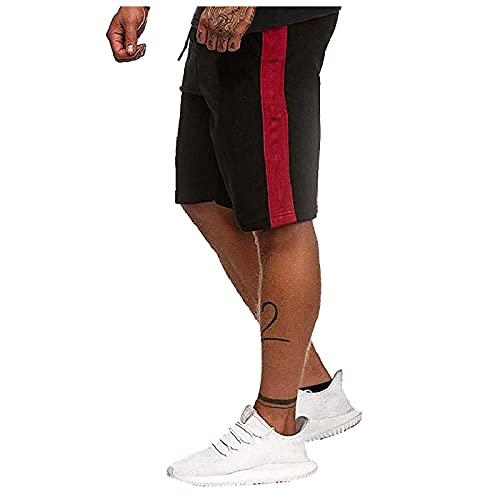 Mens Elastic Waist Lounge Workout Short Pants Drawstring Sweat Joggers Summer Sports Workout Shorts with Zipper Pockets