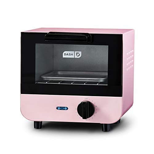 Dash Mini Toaster Oven Cooker for Bread, Bagels, Cookies, Pizza, Paninis & More with Baking Tray, Rack, Auto Shut Off Feature - Pink