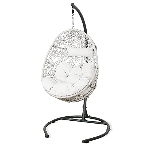 Ulax Furniture Outdoor Patio Wicker Hanging Basket Swing Chair Tear Drop Egg Chair with Cushion with Stand (Beige)