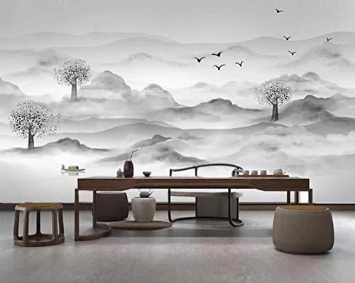 3D vliesbehang foto vlies premium fotobehang wallpaper foto klassieke inkt bergen water decoratie tv achtergrond wanddecoratie wanddecoratie 3D-wallpaper 200*140 200 x 140 cm.