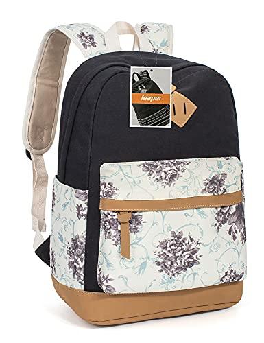 Leaper Segeltuch Rucksack Blumen Vintage Daypack Schulrucksack für Outdoor Picknick Außflug Uni(Schwarz)
