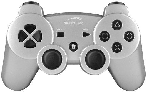 Speedlink Strike² FX Gamepad kabelloser Controller für die Playstation 3/PS3 (Vibrationsfunktion, bis zu 8 Stunden Spieldauer) silber
