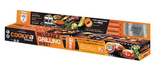 COOKINA B1OLD Barbecue Reusable and Non-Stick Grilling Sheet, Black