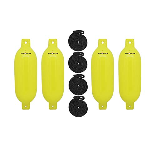 Extreme Max Standard 3006.7644 BoatTector Inflatable Fender Value 4-Pack-6.5' x 22', Neon Yellow