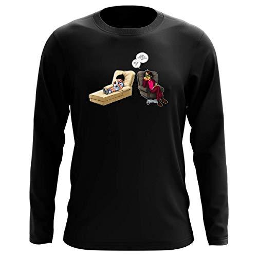 T-Shirt Manches Longues Noir Parodie Olive et Tom - Captain Tsubasa - Olivier Atone - Son Meilleur ami.!? (T-Shirt de qualité Premium de Taille XL - imprimé en France)