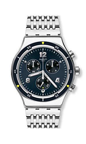 Swatch Reloj Cronógrafo para Hombre de Cuarzo con Correa en Acero Inoxidable YVS457G