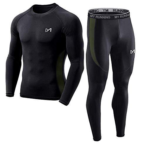 MEETYOO Conjunto Ropa de compresión Hombre, Leggings Deportiva Camiseta Fitness Ejercicio Pantalones para Running Ciclismo