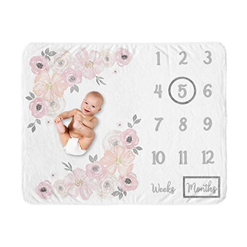 Sweet Jojo Designs Watercolor Floral Girl Milestone Blanket Monthly Newborn First Year Growth Mat Baby Shower Memory Keepsake Gift Picture - Blush Pink, Grey and White Boho Shabby Chic Rose Flower