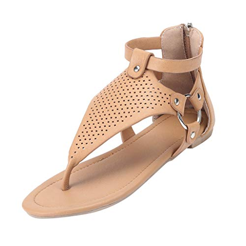 Sandales de Plage Femme,Honestyi Chaussures Plates Escarpins à Talons Bas Tongs Ete Casual Dame Chaussures Peep Toe Sandales Couleur Unie Shoes Facile à Assortir Adulte