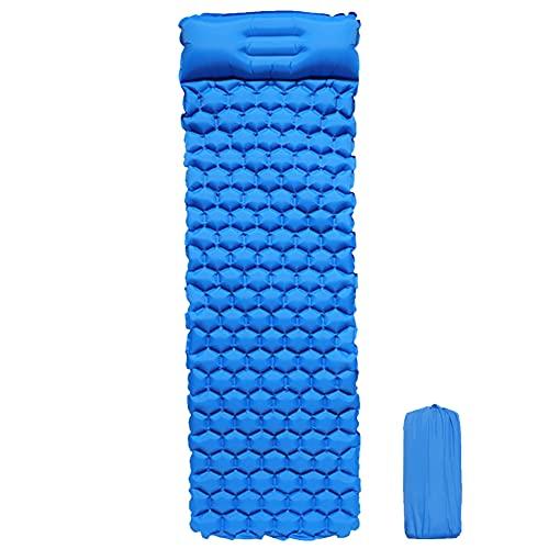 LYEAA Colchón autoinflable, impermeable con almohada incorporada, válvula de aire doble de carga rápida, cómoda alfombrilla de dormir para mochileros al aire libre, playa, Hi