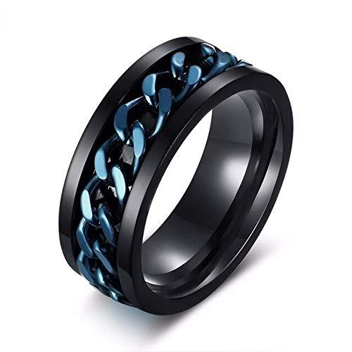 CHCO 8Mm Spinner Ring pour Hommes en Acier Inoxydable Cuba Chaîne De Mariage Hommes Anti Stress Bijoux 14 Bleu Noir