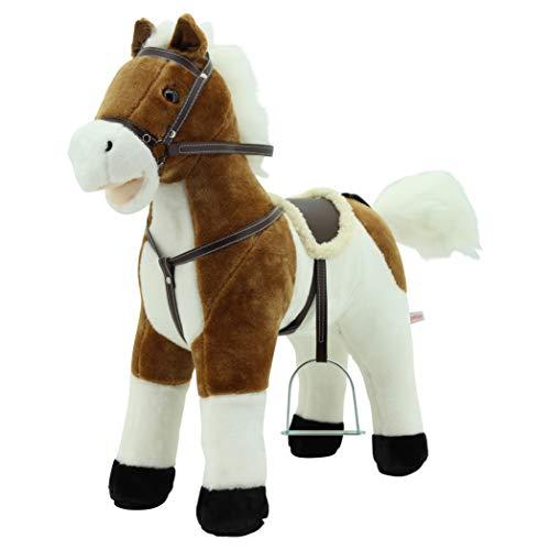 """Sweety Toys 12657 Stehpferd Plüsch Pferd beige Weiss """" My Little Pony"""" mit Funktion Sound Pferde Galopp und Gewieher, Sattel und Steigbügel"""