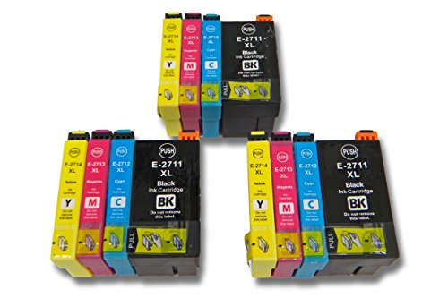 vhbw 12x Druckerpatronen Tintenpatronen Set passend für Epson Workforce WF-3620DWF, WF-3640DTWF, WF-7110DTW, WF-7610DWF.