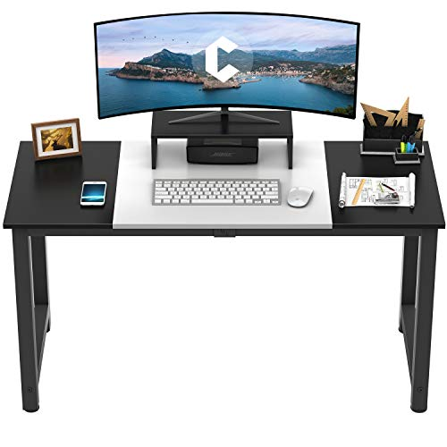 CubiCubi Computer Desk 55' with Splice Board Study Writing Table for Home Office, Modern Simple Style PC Desk, Black Metal Frame, White and Black