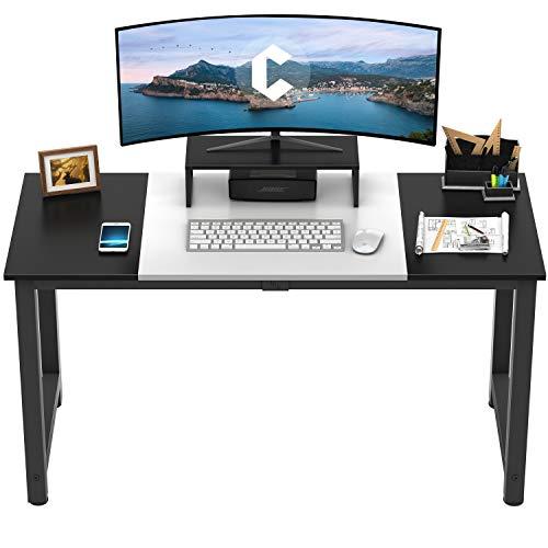 CubiCubi Escritorio para computadora de 55 pulgadas con tablero de empalme, mesa de escritura para oficina en casa, escritorio de PC de estilo simple, marco de metal negro, blanco y negro