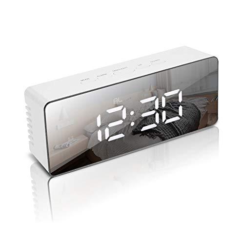 Weekend&Lifecan Sveglia Digitale da scrivania, Sveglia Digitale LED Luminosi, Sveglia Digitale Comodino,Orologio Sveglia Digitale, Display a LED con Funzione Snooze/Data/Temperatura (White)