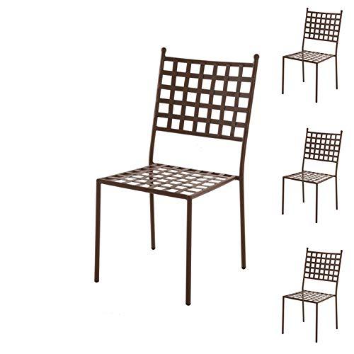 Tousmesmeubles Quatuor de Chaises en Fer forgé - Timor - L 46 x l 56 x H 91 - Neuf