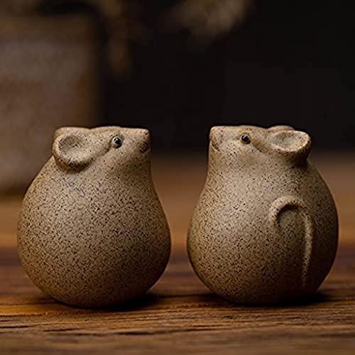 Desktop-Skulptur Tier Statue Keramik Skulptur Glück Ratte Tee Haustier Tee Set Zubehör Handgemachte Figuren Wohnzimmer Dekoration Dekoration Zubehör Zubehör (Color : B)