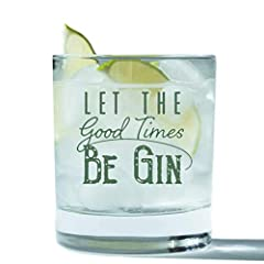 KICK YOUR PARTY UP A NOTCH with this beautiful old fashioned lowball glass. Your friends and family will love this Let the Good Times Be Gin bar glass for their man cave, the next girls night out glass or big party. This single glass is perfect for m...