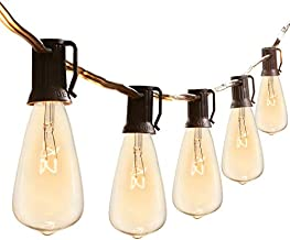 25 Feet Outdoor String Lights with 25 Handing Sockets and 7 Watt ST40 Bulbs Waterproof Commercial Vintage Edison Lights UL Listed E17 Base for Patio, Porches, Bistro, Backyard, Black Wire