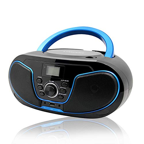 LONPOO Portátil Bluetooth Reproductor de CD Boombox 4W (FM Radio, Reproductor de CD / MP3, USB2.0, AUX-IN, Bluetooth4.0)