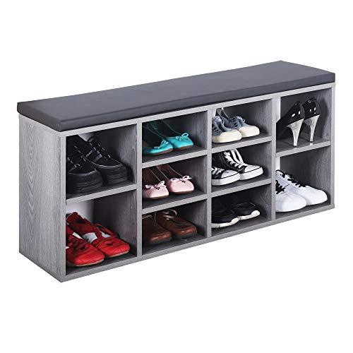 RICOO WM033-EH-A Banco Zapatero 104x49x30cm Armario Interior con Asiento Organizador Zapatos Mueble recibidor Perchero Madera Roble Gris