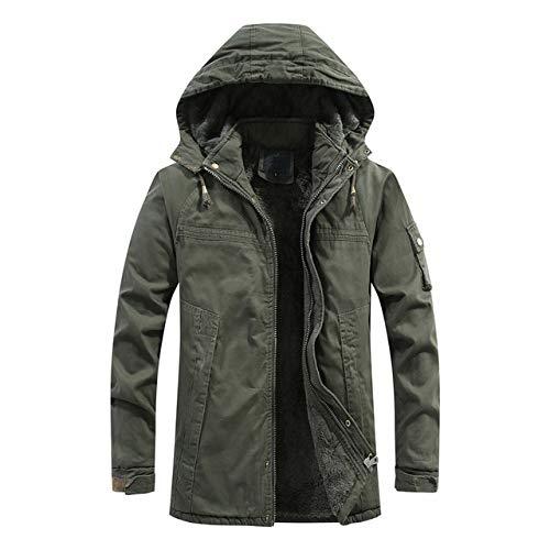 LFDJNZ Herren Winter Parker Mantel Mens Casual Lange Verdicken Jacke Kapuzenjacke Männliche Kleidung M ~ 4XL SA820 M Grün