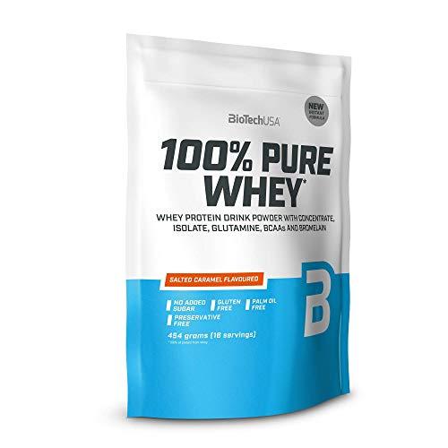 BioTechUSA 100% Pure Whey Complejo de suero de leche con bromelina, aminoácidos, sin azúcar añadido, sin aceite de palma, con edulcorante, 454 g, Caramelo Salado
