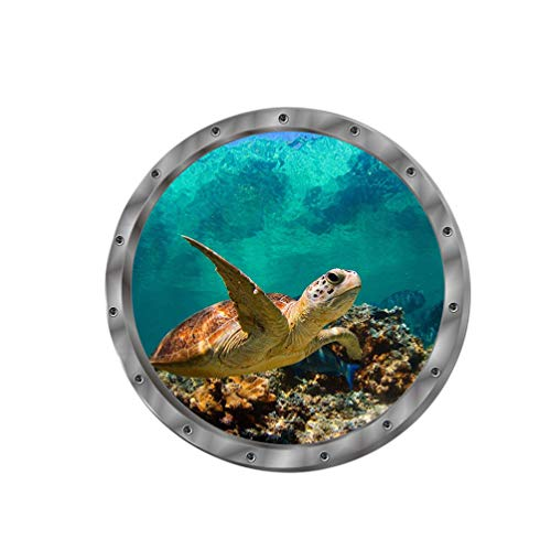 BESPORTBLE Underwater World 3D Wall Sticker, Porthole View Undersea Tropical Fishes Fridge Sticker, Waterproof Decor Decal for Home 2PCS