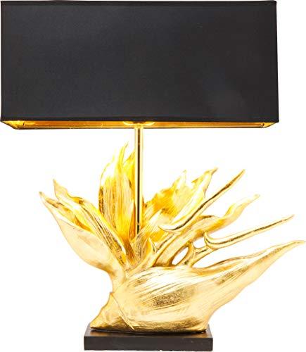 Kare Design Tischleuchte Tropical Flower, außergewöhnliche Tischlampe in Gold mit Schwarzem Stoffschirm, goldene, elegante Dekolampe für Nachttisch und Kommode (H/B/T) 65x50,5x22cm