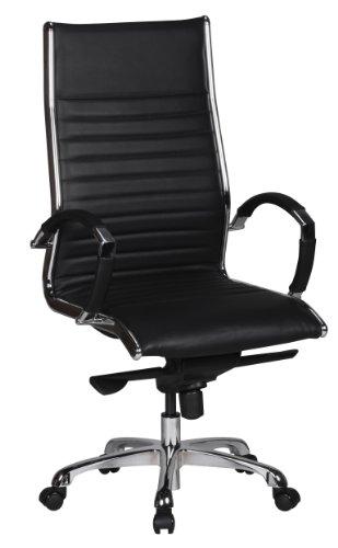 AMSTYLE Bürostuhl SALZBURG 1 Bezug Echt-Leder Schwarz Design Schreibtischstuhl X-XL 120 kg Chefsessel höhenverstellbar Drehstuhl ergonomisch mit Armlehnen Polster niedrige Rücken-Lehne Wippfunktion