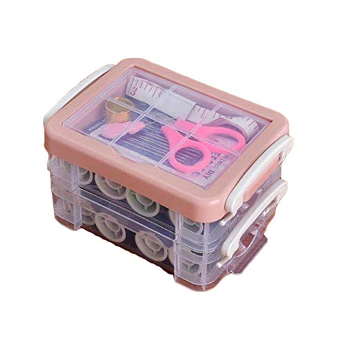 Honton Basic Sewing Kit for Beginner Travel Adults Emergency Double-Layer Storage Box with Buttons Thread Needles Scissors Pin Sewing Kit
