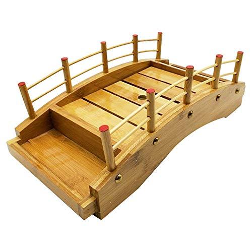 Adanse Plato de madera para sushi, diseño de puente de barcos, de pino y sushi, para decoración de vajilla