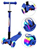 ChromeWheels Scooters for Kids, Deluxe Kick Scooter Foldable 4 Adjustable Height 132lbs Weight Limit 3 Wheel, Lean to Steer LED Light Up Wheels, Best Gifts for Girls Boys Age 3-12 Year Old, Blue