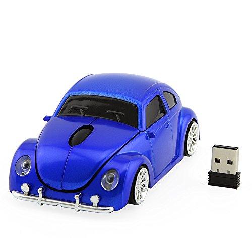 Linbing666 Ratón inalámbrico de Ordenador, Reproductor de Escarabajo de ratón Fresco Forma de Coche, máquina musa 100dpi Juego óptico, con Receptor USB para PC portátil,Azul