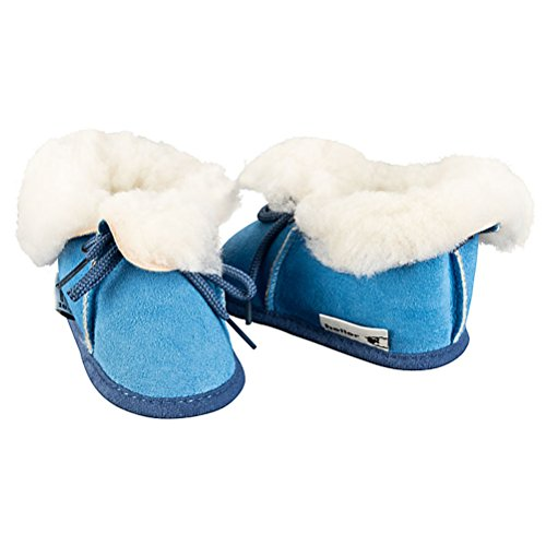 Heller Vertrieb 100% Merino lamsvacht baby/kinderlaarzen - blauw
